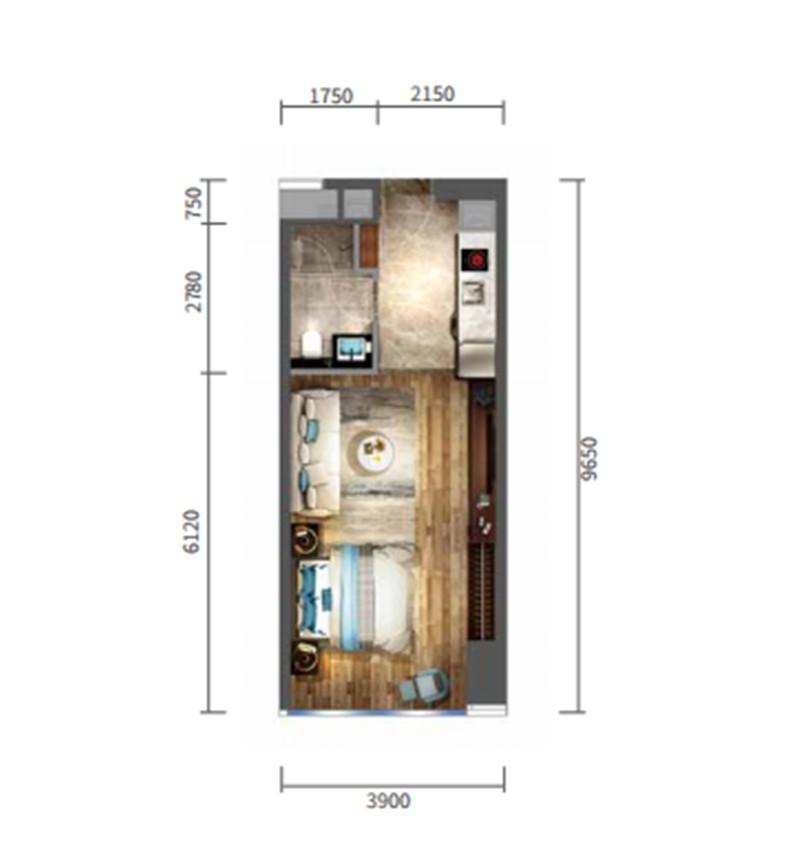 宝能中心54平公寓户型