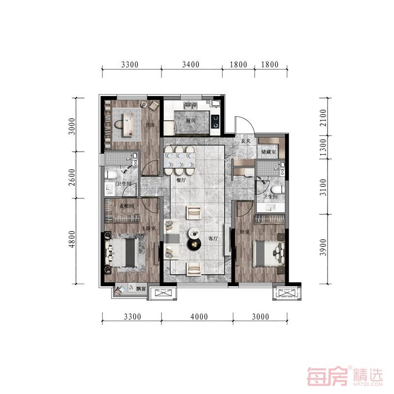 新希望金科锦官天宸121平户型